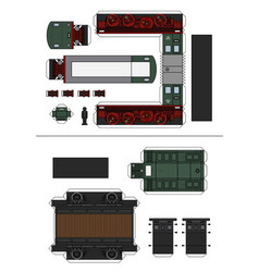 paper model a historical diesel train vector image