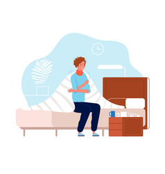 Person have flu man sickness ache in body vector
