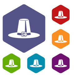 Pilgrim hat icons set vector