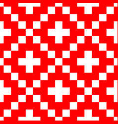 pixel style seamless pattern red ornaments vector image