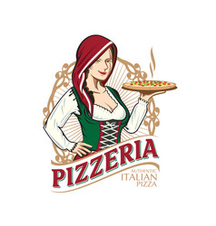 pizzeria lady vector image