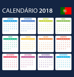 Portuguese calendar for 2018 scheduler agenda or vector
