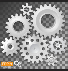 realistic white gears on transparent background vector image