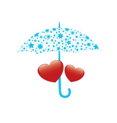 Red hearts and umbrella vector
