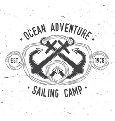 sailing camp badge concept for shirt vector image