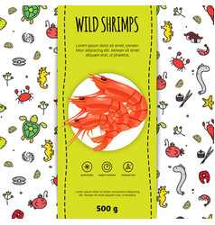 Seafood packaging design vector