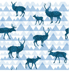 seamless decorative pattern with deers vector image