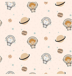 seamless pattern with cute astronauts and cartoon vector image