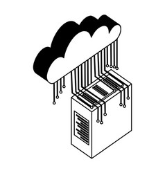 server data center with cloud computing and vector image