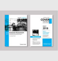 set blue cover and layout brochure flyer vector image