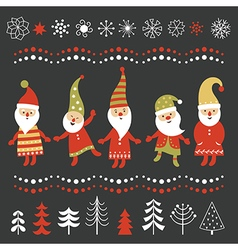 set christmas graphic elements vector image
