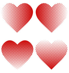 set heart shape halftone effect heart vector image