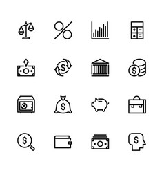 Set of icons on the theme of money bank vector