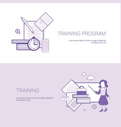 Set of training program banners business concept vector