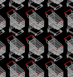 Shopping cart seamless pattern Supermarket vector image