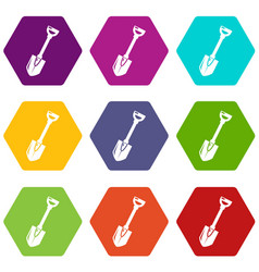 shovel icons set 9 vector image