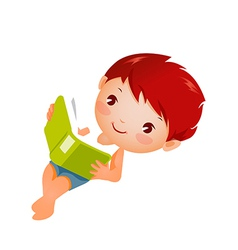 Side view of boy studing vector