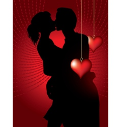 silhouette of couple kissing vector image vector image