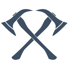 Silhouette of crossed firefighters axes vector