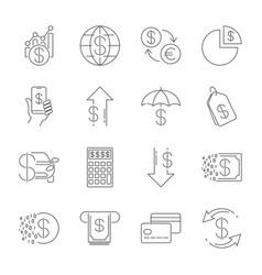 simple line web icons set - money finance vector image