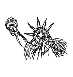 Statue of liberty - sketch hand vector