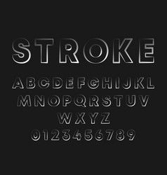 Stroke line design alphabet letters and numbers vector