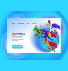Super heroes isometric web page vector