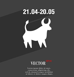 Taurus symbol Flat modern web design with long vector