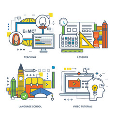 Teaching lessons language school video tutorial vector
