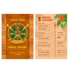 template for menu tiki bar or club vector image