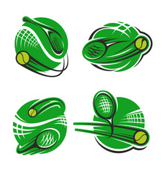 tennis sport club racket and ball icons vector image
