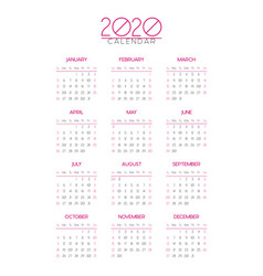 The 2020 calendar template vector