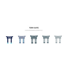 Torii gate icon in different style two colored vector