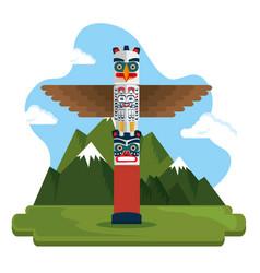 Totem culture canadian scene vector