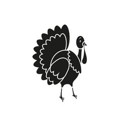 Turkey icon of black thanksgiving of the day vector