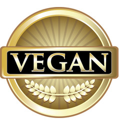 Vegan gold icon vector