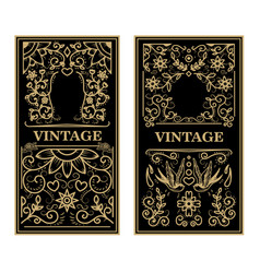 Vintage frames in golden style on dark background vector