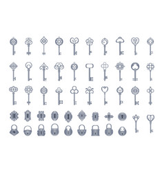 vintage keys with locks set openwork exclusives vector image