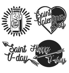 Vintage Valentines day emblems vector