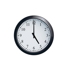 Wall clock set at 5 o clock vector