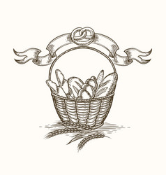 wheat bakery basket sketch vector image