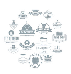 wine logo icons set simple style vector image