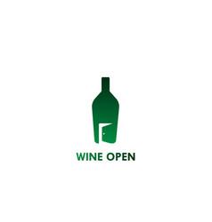 Wine open logo vector