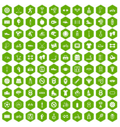 100 sport icons hexagon green vector