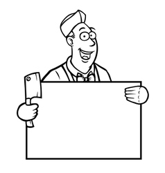 Black and white butcher with a sign vector image
