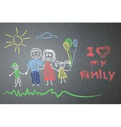 Children family drawing on the asphalt vector image