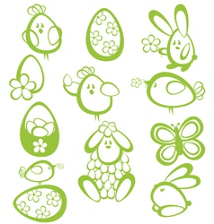 Funny easter characters vector image