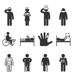 Injury icons Trauma and sickness vector image vector image