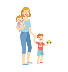 mother with two kids baby daughter and little son vector image