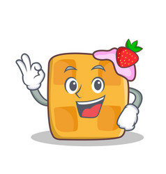 okay waffle character cartoon design vector image vector image
